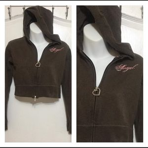 Sweaters - Brown Hooded zip up crop Sweater: Size M